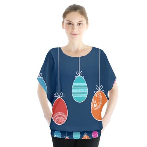 Easter Egg Balloon Pink Blue Red Orange Blouse by Alisyart
