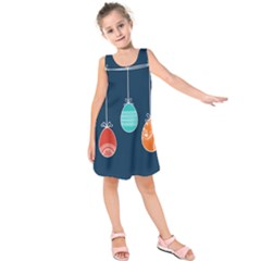 Easter Egg Balloon Pink Blue Red Orange Kids  Sleeveless Dress by Alisyart