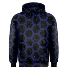 Hexagon2 Black Marble & Blue Leather Men s Pullover Hoodie by trendistuff