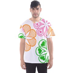 Flower Floral Love Valentine Star Pink Orange Green Men s Sport Mesh Tee by Alisyart