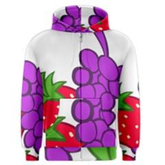 Fruit Grapes Strawberries Red Green Purple Men s Zipper Hoodie by Alisyart