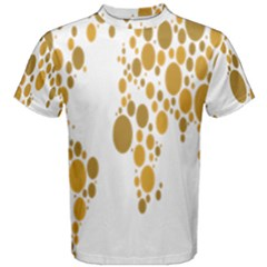 Map Dotted Gold Circle Men s Cotton Tee by Alisyart