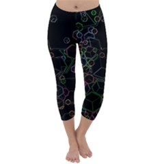 Boxs Black Background Pattern Capri Winter Leggings  by Simbadda