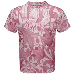 Vintage Style Floral Flower Pink Men s Cotton Tee by Alisyart