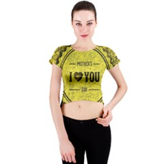 Happy Mother Day Crew Neck Crop Top by Simbadda
