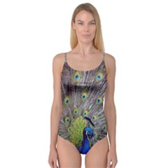 Peacock Bird Feathers Camisole Leotard  by Simbadda