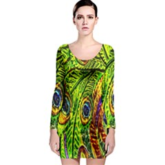 Peacock Feathers Long Sleeve Bodycon Dress by Simbadda