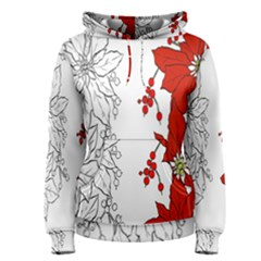 Poinsettia Flower Coloring Page Women s Pullover Hoodie by Simbadda