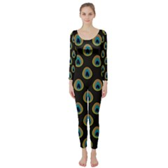 Peacock Inspired Background Long Sleeve Catsuit by Simbadda