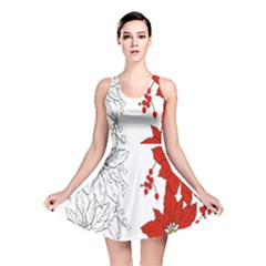 Poinsettia Flower Coloring Page Reversible Skater Dress by Simbadda