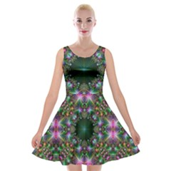 Digital Kaleidoscope Velvet Skater Dress by Simbadda