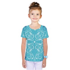 Flower Leaf Floral Love Heart Sunflower Rose Blue White Kids  One Piece Tee by Alisyart