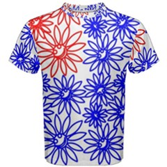 Flower Floral Smile Face Red Blue Sunflower Men s Cotton Tee by Alisyart