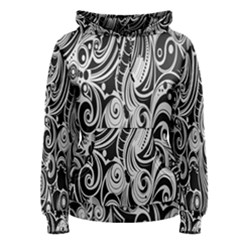 Black White Pattern Shape Patterns Women s Pullover Hoodie by Simbadda