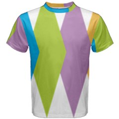 Chevron Wave Triangle Plaid Blue Green Purple Orange Rainbow Men s Cotton Tee by Alisyart