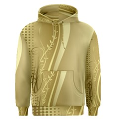 Golden Wave Floral Leaf Circle Men s Pullover Hoodie by Alisyart