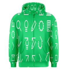 Icon Sign Green White Men s Zipper Hoodie by Alisyart