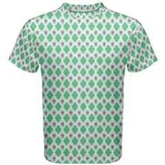 Crown King Triangle Plaid Wave Green White Men s Cotton Tee