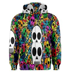 Skull Background Bright Multi Colored Men s Zipper Hoodie by Simbadda