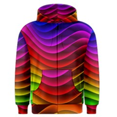 Spectrum Rainbow Background Surface Stripes Texture Waves Men s Zipper Hoodie by Simbadda