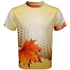 Background Leaves Dry Leaf Nature Men s Cotton Tee by Simbadda