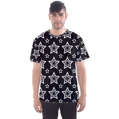 Star Black White Line Space Men s Sport Mesh Tee by Alisyart