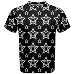 Star Black White Line Space Men s Cotton Tee by Alisyart