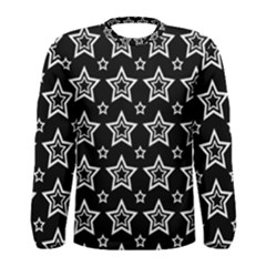 Star Black White Line Space Men s Long Sleeve Tee by Alisyart