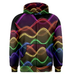 Twizzling Brain Waves Neon Wave Rainbow Color Pink Red Yellow Green Purple Blue Black Men s Zipper Hoodie by Alisyart