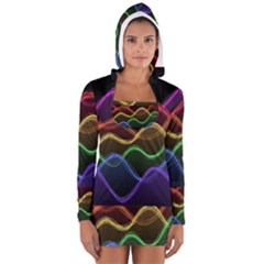 Twizzling Brain Waves Neon Wave Rainbow Color Pink Red Yellow Green Purple Blue Black Women s Long Sleeve Hooded T Shirt by Alisyart