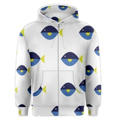 Blue Fish Swim Yellow Sea Beach Men s Zipper Hoodie by Alisyart