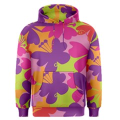 Butterfly Animals Rainbow Color Purple Pink Green Yellow Men s Pullover Hoodie by Alisyart