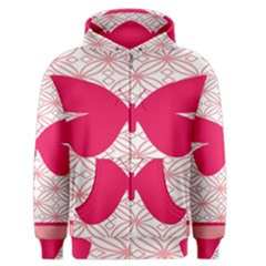 Butterfly Animals Pink Plaid Triangle Circle Flower Men s Zipper Hoodie by Alisyart