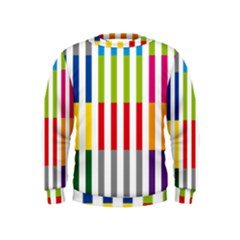 Color Bars Rainbow Green Blue Grey Red Pink Orange Yellow White Line Vertical Kids  Sweatshirt by Alisyart