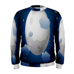 Cloud Moon Star Blue Sky Night Light Men s Sweatshirt by Alisyart