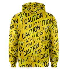 Caution Road Sign Cross Yellow Men s Zipper Hoodie by Alisyart