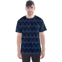 Colored Line Light Triangle Plaid Blue Black Men s Sport Mesh Tee