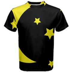 Moon Star Light Black Night Yellow Men s Cotton Tee