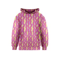 Pink Yelllow Line Light Purple Vertical Kids  Pullover Hoodie by Alisyart