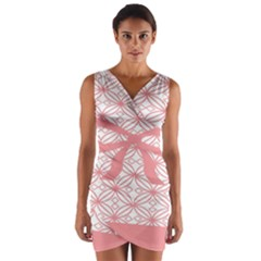 Pink Plaid Circle Wrap Front Bodycon Dress by Alisyart