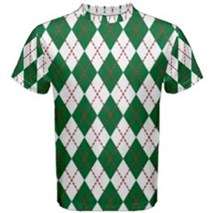 Plaid Triangle Line Wave Chevron Green Red White Beauty Argyle Men s Cotton Tee