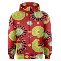 Sunflower Floral Red Yellow Black Circle Men s Zipper Hoodie by Alisyart