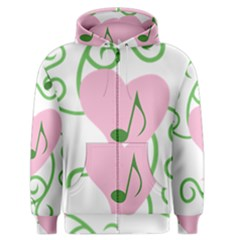 Sweetie Belle s Love Heart Music Note Leaf Green Pink Men s Zipper Hoodie by Alisyart
