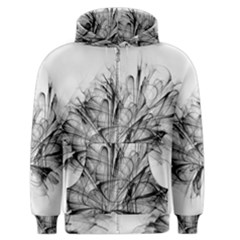 Fractal Black Flower Men s Zipper Hoodie by Simbadda