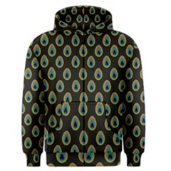Peacock Inspired Background Men s Zipper Hoodie by Simbadda