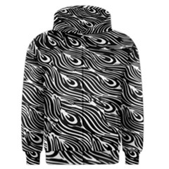 Digitally Created Peacock Feather Pattern In Black And White Men s Zipper Hoodie by Simbadda
