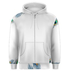 Beautiful Frame Made Up Of Blue Peacock Feathers Men s Zipper Hoodie by Simbadda