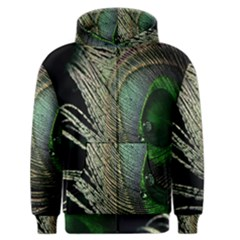 Feather Peacock Drops Green Men s Zipper Hoodie by Simbadda