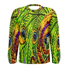 Glass Tile Peacock Feathers Men s Long Sleeve Tee by Simbadda