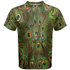 Peacock Feathers Green Background Men s Cotton Tee by Simbadda